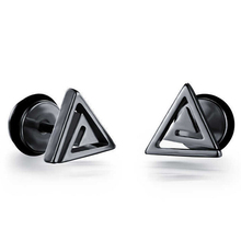 Casual Stainless Steel Triangle Design Stud Earrings Black White Gold Colors Man Jewelry Male Earrings
