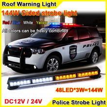 144W Super Bright Car Roof Led Strobe Lights Bar Ambulances Fire Trucks Warning Light 12V/24V 24inch Red Blue Led Police Lights(China)