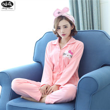 Women Long Pajamas Sets 2017 New Autumn Cotton Cartoon Sleepwear Girls Sweet Cute Kitty Long Pajamas Suit Home Clothes(China)