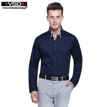 Top venda italiano 7 camicie estilo gola dupla vestido de moda Premium Camisas De Algodão Slim fit Manga Comprida Camisa dos homens Da Marca VSD