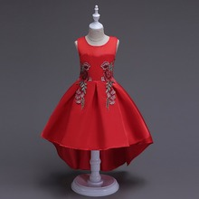 Baby girls elegant train lace dresses children satin red kids long tail evening gown party wedding christmas(China)