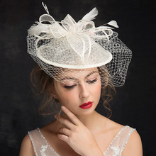 Bride Fascinator Wedding Fashion Hair Decorate Lady Gauze Feather Sinamay Hat Cocktail Party Church Fedora Top Hat(China)