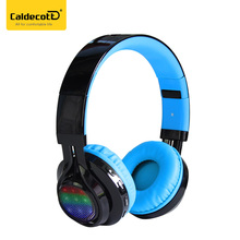 Caldecott AB005 headband music stereo bluetooth headphones with LED light for laptops cell phone