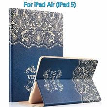 For Apple iPad Air Case, Smart Stylish Art Printed Flip PU Leather Stand Protective Case Cover with Auto Sleep / Wake(China)