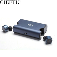 GIEFTU True Wireless Earbuds Twins X2T Bluetooth CSR4.2 Earphone Stereo with Magnetic Charger Box Case for Mobile phone