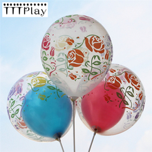 10pcs/lot 12inch Clear Rose Romantic Latex Balloon Transparent Flower Printed Balloon Wedding Decoration Birthday Party Supplies