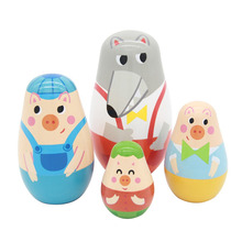 New 4 Pieces Of  Three Little Pigs And Big Wolf Beautiful Wooden Russian Nesting Dolls for Kids' Gifts Toy