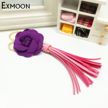 2pcs/lot Pop top quality Fabric tassel Keychains Leather Flower Women bag pendant car key mobile phone shell decorations Jewelry