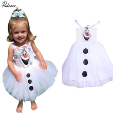 2017 HOT Cartoon Snowman Olaf Costume Girls Baby Tulle Fancy Gown Tutu Dresses 2-7Y