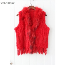 Women Ntural Knitted Rabbit Fur Vest with real raccoon fur collar Winter Autumn hot sale waistCoat Fashion Outwear gilet tassels