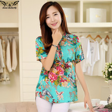 2016 high quality Summer style Kimono blouses top Plus size XS-5XL cotton Printed Short sleeve Casual Women shirts blusas tops