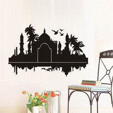 Taj Mahal India Wall Stickers Palms Birds Silhouette Waterproof Art Vinyl Decal Living Room Accessories Art Home Office Mural(China)