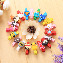 10 pcs Cute Cartoon Animals Hello Kitty Batman Wooden Mini Small Clip Cat Bow Photo Paper Postcard Craft DIY Clips Office Supply