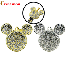 New Gold/ Silver Mickey Head 16GB/32GB disk on key  Real USB 2.0 Flash memory 64gb pen drives Fashion Crystal Jewelry Necklace