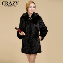 New 2017 Women Plus Size Women Clothing  5XL 4XL Fashion Middle Long Luxury Fake Mink Fur Coats Black White Faux Fur Coat