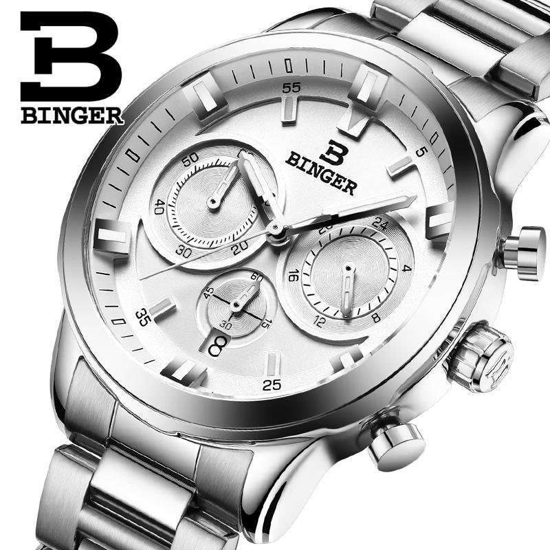2017 Switzerland luxury watch men BINGER brand quartz full stainless Wristwatches Chronograph Diver glowwatch B9011<br>