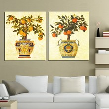 2 Panel oil Painting Home Decorative Art Picture Canvas Prints Oil painting beautiful potted plant mandarin orange(China)