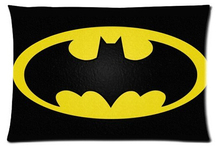 Rectangle Zippered Classic Nice Best Custom Pillow Case Two-sided Glossy Batman logo Pillow Cover #P0064