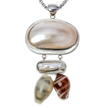 Natural shell mother of pearl necklace pendant W stainless steel chain jewelry birthday gifts for women her wife girlfriend I011(China)