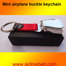 Gift box packing mini airplane airline seat belt buckle keychain keyring aircraft buckle key ring present free shipping(China)