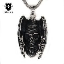 Men Punk Eagle Skull Pendant Necklaces & Fashion Hip Hop Stainless Steel Necklace for Men/Women Chain Jewelry LS-11(China)