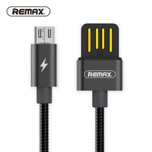 REMAX Spring Metal Micro USB Data Cable 1m 2.1A Dual side USB cable Sync Charger Cable fast Charging cable for Xiaomi/huawei(China)