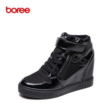 Boree Winter Women 's Casual Shoes Fashion Sneakers Height Increase High-Top Short Plush Solid Superstar Zapatillas Mujer 58093(China)