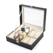 Professional 10 Grid Watch Box Luxury PU leather Wristwatch Box Display Jewelry Storage Organizer Watch Case Caixa Para Relogio(China)