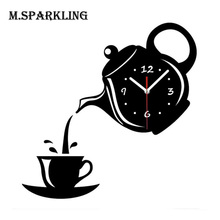 M.Sparkling Wall Clock Mirror Effect Coffee Cup Shape Decorative Kitchen Wall Clocks Living Room Home Decor Wandklok