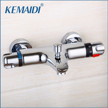 Buy KEMAIDI Thermostatic Shower Faucet Wall Mounted Double Handle Faucet Spout Filler Diverter Chrome Bathtub Valve Faucet Mixer Tap for $35.99 in AliExpress store