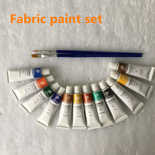 Professional Fabric Colours Paint Non Toxic12 Colors 6ml Color Set Textile Colors Pigments Free For Brush(China)