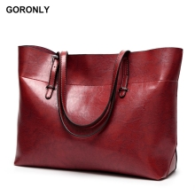 Buy GORONLY Brand Leather Tote Bag Women Handbags Female Designer Large Capacity Leisure Shoulder Bags Fashion Ladies Purses Bolsas for $19.60 in AliExpress store