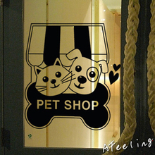 Store glass window door sticker cat dog pet food shop sign pet poster salon adhesive AD welcome sign wall sticker store sticker(China)