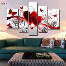5 Panels Modular Red Hearts Picture Wall Art Gift Hand Painted Modern Abstract Oil Painting on Canvas  Decor No Frame JYJHS004