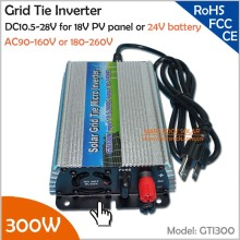 For 18V solar panel and 24V battery 300W pure sine wave grid tie solar inverter