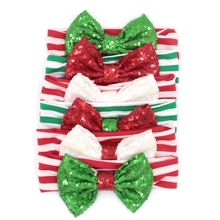 6pcs/lot Christmas Gift Headband 5'' Big Sequin Bow Striped Elastic Headband For Girls And Kids 2017 Christmas Hair Accessories