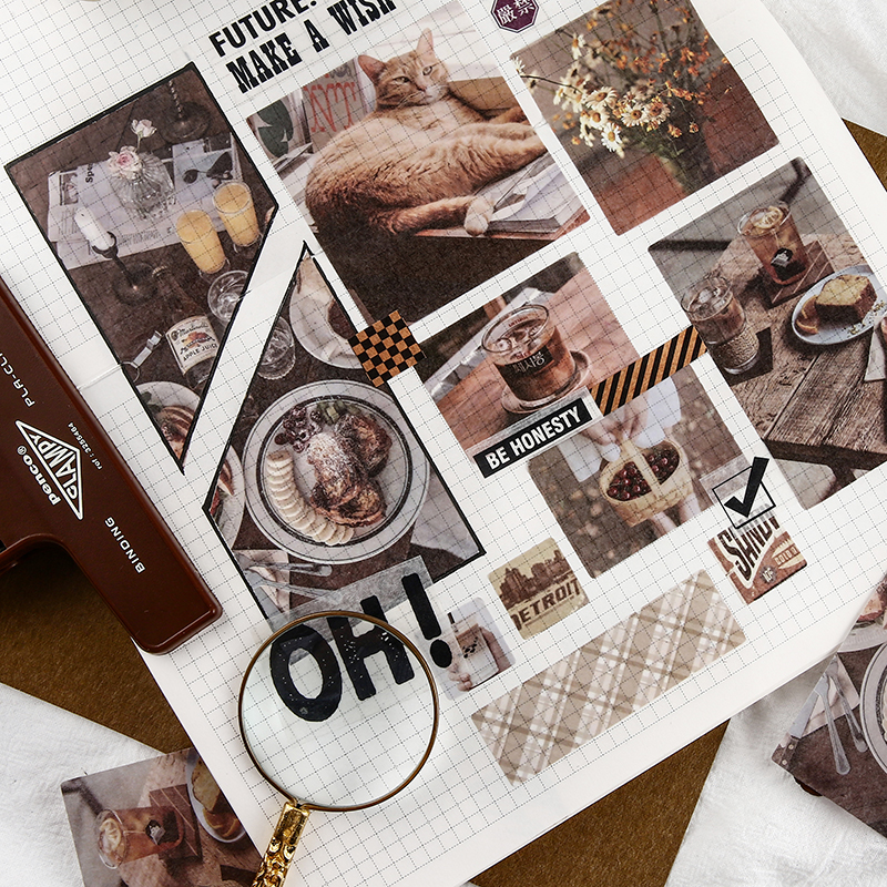 70pcs/lot Retro Coffee Shop Decorative Stickers Scrapbooking Stick Label Diary Stationery Album Stickers