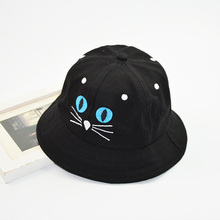 Spring Autumn Child Bucket Hat Character Cat Cotton Panama Cap for Boys and Girls One Size