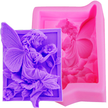 M154 Flower Fairy Silicone Mold Chocolate Fudge Baby Angel Soap Cake Decorate Kitchen Bakeware 3d Sugar Molding(China)