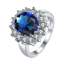Luxury British Kate Princess Diana William Engagement Wedding 2.5ct BlueRed  Ring  Gold colour