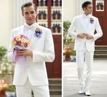 Handsome men two-piece pure white groom suit the latest hot sale dress factory (jacket + pants) fashion contracted high quality(China)