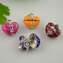 20pcs Mixed Color Enamel Heart Prayer Wish Craft Photo Frame Locket Box Fit Charms Necklace Pendant