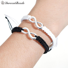 "DoreenBeads Polyester Waved String Braided Friendship Bracelets silver color Black Infinity Symbol 29cm(11 3/8"") long, 1 Pair(China)"