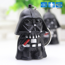 Star Wars Keychains Cartoon Anime Sound Light LED Darth Vader Storm Trooper Keychain Figures Gifts - Happy Life Kids Shop store
