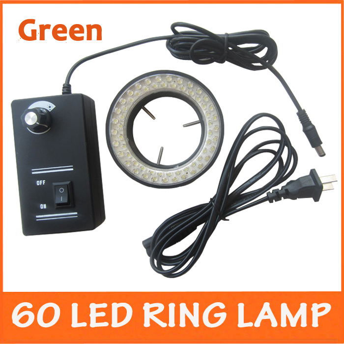 Green Color Lights - 60pcs LED Illuminated Zoom Adjustable Stereo Biological Microscope Ring Lamp with Adapter 220V 110V<br>