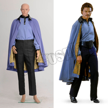 Star Wars 7 Lando Jedi Robe Cosplay Costume Halloween Cloak Shirt Pants Full Set Blue Suit for Man Adult