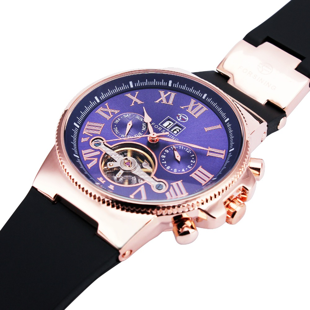 BEST SELLING Luxury Tourbillon Day&amp;Date Mens Automatic Mechanical Wrist Watch Rose Golden Case Dark Blue Dial + GIFT BOX<br><br>Aliexpress