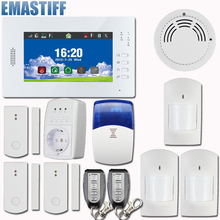 New 7 Inch Touch Panel Wireless GSM PSTN Home Security Alarm System with Backup Battery Support IOS and Android APP Controll