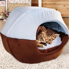 Cozy Pet Dog Cat Cave Mongolian Yurt Shaped House Bed with Removable Cushion inside(China)