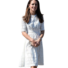 Buy Top 2017 Kate Middleton Dress Fashion Slim Computer Cutout Jacquard Dress Pumping Cotton Summer Dress White Casual Dress for $48.99 in AliExpress store